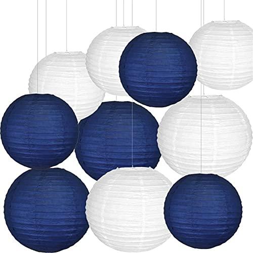 """Latarniowe światła 10 sztuk biała marynarka wojenna papierowa latarnia mieszana rozmiar 12""""14"""" chiński papier lampion na ślub wiszące imprezy zimowe dekoracyjne .Na nowy rok, wiosenny festiwal, ślub"""