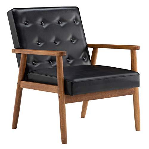 Accent Sessel für Wohnzimmer, Polstersessel, moderner Stoff, Einzelsofa, bequem, Loungemöbel (PU, schwarz)