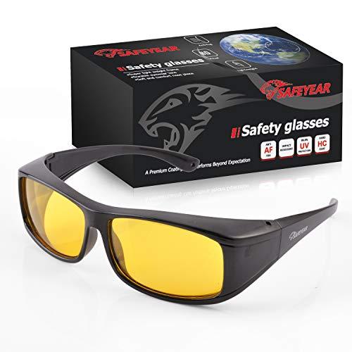 SAFEYEAR Nachtfahrbrille Nachtsichtbrille für Autofahren – SG011BKFM Polarisierte Nachtbrille für Brillenträger von Anti Glanz mit blendfrei Beschichtung (Gelb)