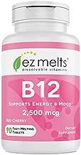 EZ Melts B12 as Methylcobalamin, 2,500 mcg, Sublingual Vitamins, Vegan, Zero Sugar, Natural Cherry Flavor, 90 Fast Dissolve Tablets