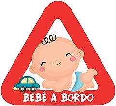 Haberdashery Online Pegatina Adhesiva Bebé a Bordo. Adhesivo vinilo para coche o moto. 16 x 14'5 cm. (2. Niño)