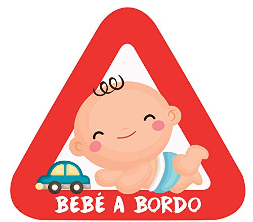 Haberdashery Online Pegatina Adhesiva Bebé a Bordo. Adhesivo vinilo para coche o moto. 15 x 13'7 cm. (2. Niño)