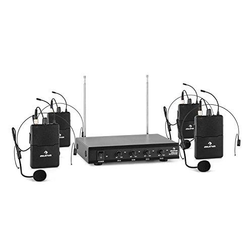 AUNA VHF-4-HS 4 x Radiomicrofoni Wireless VHF con Ricevitore (4 Canali, Copertura 50 metri, 4 Microfoni ad Archetto, Uscita Jack, 2 Antenne Telescopiche) Nero