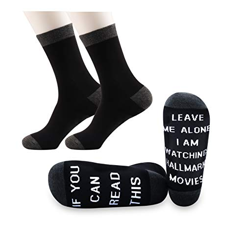 PYOUL 2 Pairs Hallmark Christmas Movies Socks If You Can Read This Leave Me Alone I Am Watching Hallmark Movies (Hallmark Movies)