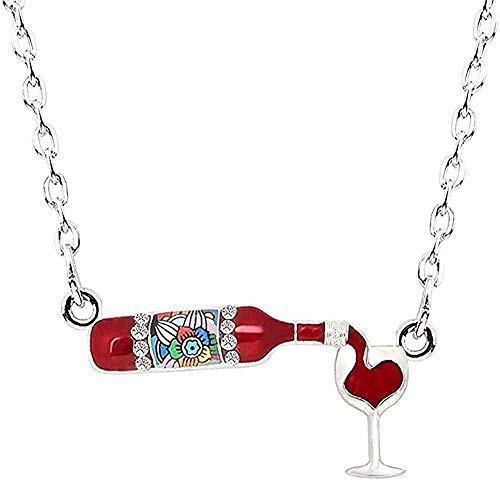 ZHIFUBA Co.,Ltd Collar Llamativo Collar Esmalte Floral Botella de Vino Tinto Collar de Cristal Cadena aleación Colgante de Diamantes de imitación para Mujeres niñas Regalo de joyería de Fiesta