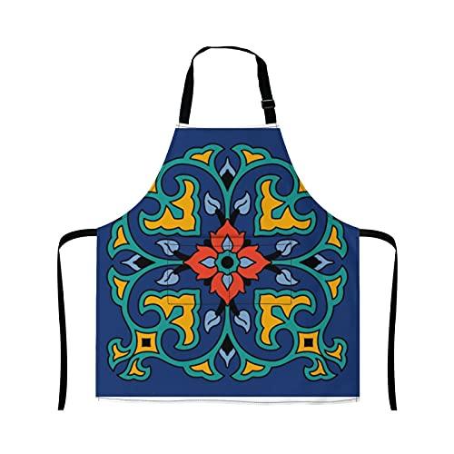 Reebos Delantal vintage de cocina con azulejos de Catalina Island para cocina, cocina, para jardinería, camarera, bonito delantal para barbacoa y parrilla, para mujeres y hombres