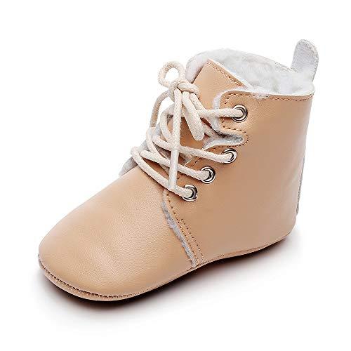 MASOCIO Baby Winterschuhe Junge Mädchen Babyschuhe Winter Boots Lauflernschuhe Stiefel Winterstiefel Schuhe Khaki Größe 22 18-24 Monate