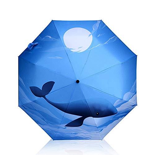 Faltbarer Regenschirm für Sonne und Regen, Sonnenschutz, Meerwal, Regenschirm für Damen, gehobener Sommer, kreativer Strand-Sonnenschirm