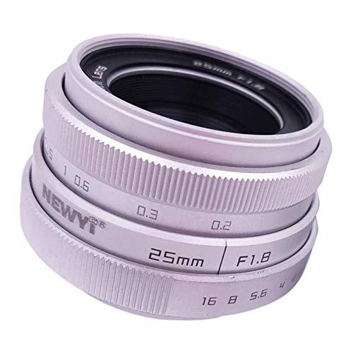 H HILABEE 25 mm f/1.8 APS-C - Objetivo para Canon para Sony, Distancia Mínima de Enfoque: 20 mm, Apertura F/1.8, Plata - Plata