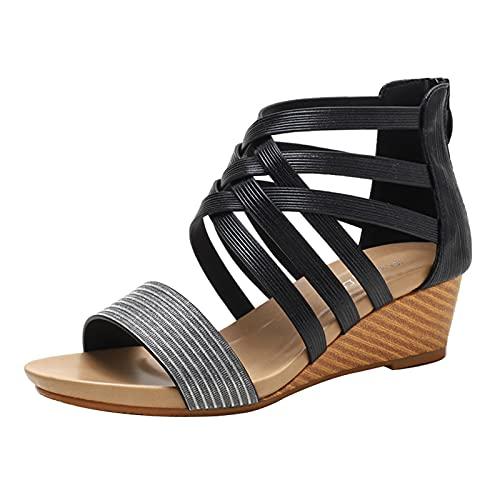 SeiteHuud Mujer Moda Tacón de Cuña Sandalias Con Cremalleraper Correa Cruzada Gladiador Sandalias Poen Toe Verano Zapatos Vacaciones Zapatos Black Numero 36 Asiática