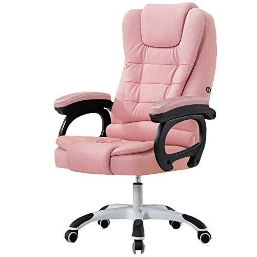 Silla ejecutiva giratoria ergonómica para oficina en casa con respaldo alto y función de inclinación, masaje en la cintura, reposabrazos, piel sintética, acolchado, color rosa