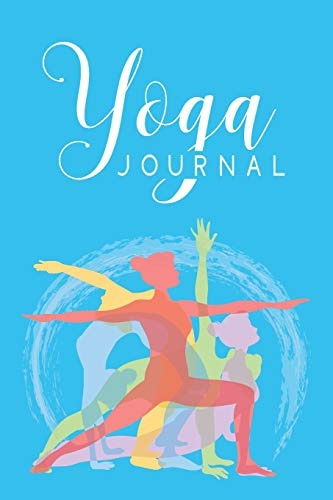Yoga Journal: 6 x 9 Inch Yoga Notebook 118 Lined Pages (6x9 Diary) - Colorful Yoga Poses on Light Blue