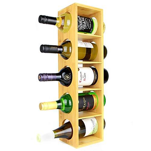 Maison & White Estante del vino de bambú | Soporte de 5 botellas de pared | Vitrina premontada de madera para vinos | Diseño modular apilable