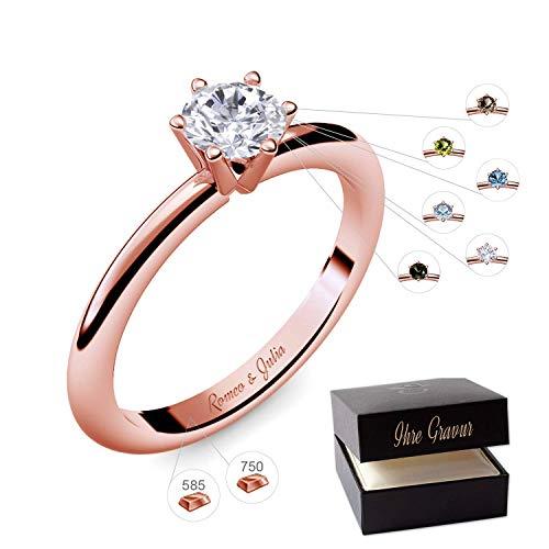 Verlobungsring Rotgold 585 750 PERSONALISIERT + ETUI mit individueller GRAVUR Damen-Ring Heiratsantrag Solitär-Ring Zirkonia Aquamarin Turmalin Blautopas Peridot Rauchquarz