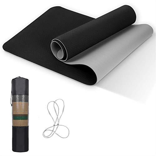 Esterilla de yoga de TPE, antideslizante, para entrenamiento, respetuosa con el medio ambiente, para yoga, pilates, entrenamiento en casa, 183 x 61 x 0,8 cm, color negro y gris