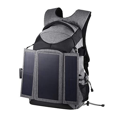 PULUZ Zaino Solare con Pannello Impermeabile Zaino Fotografico Multifunzione Borsa per Sony Canon Nikon Fotocamera Colore: Grigio