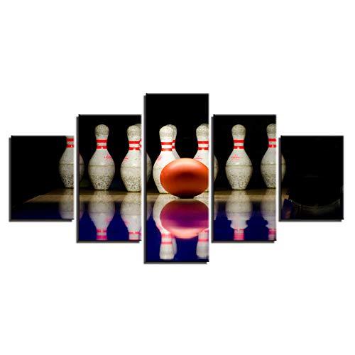 IKDBMUE Poster 5 Teilig Leinwand Modern Kunstdruck Bowlingkugel-Sportlandschaft Modular Wand Aufhängen Wohnzimmer Home Dekoration Bild Design Hd Panel/Mit Holzrahmen Größe 150X80 cm