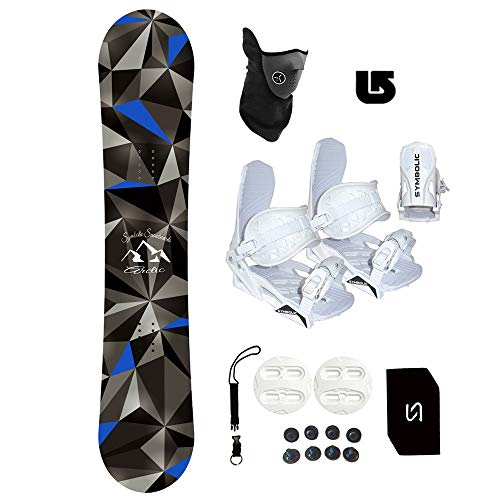 Symbolic Arctic Kids Snowboard & White Bindings Package +Leash+Stomp+Face Mask + Burton Decal (120cm & White Bindings XS (fits 1-6))