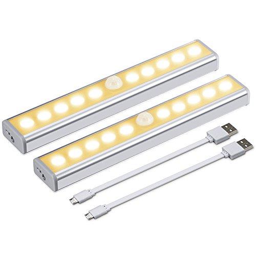 Jirvyuk Luce Notturna Ricaricabile USB con Striscia Magnetica per Scale, Armadio, 3 Modalità di Luce, Facile Installazione,con Strisce Magnetiche - 2 Pack (Bianco caldo)