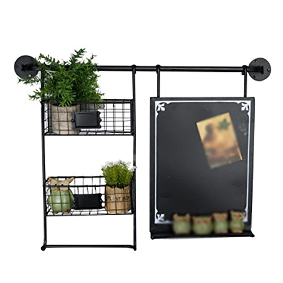 続けるバズ立法IVHJLP アメリカンレトロスタイルの産業黒板ラック/壁掛けメッセージボード/ブラック|76.5 * 56センチメートル
