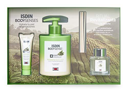 Isdin BodySenses RITUAL REVITALIZANTE con Té Matcha: Loción Corporal 500ml + Crema de manos 30ml + Obsequio Ambientador con barritas aromáticas (aroma Té Matcha)