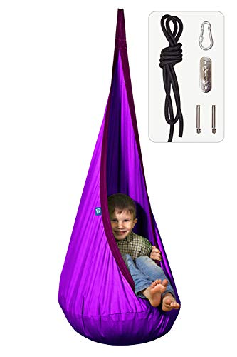 AMAZEYOU Kids Swing Hammock Pod Chair - Child's Rope Hanging Sensory Seat Nest for Indoor and Outdoor Use - Great for Children, All Accessories Included (Purple)