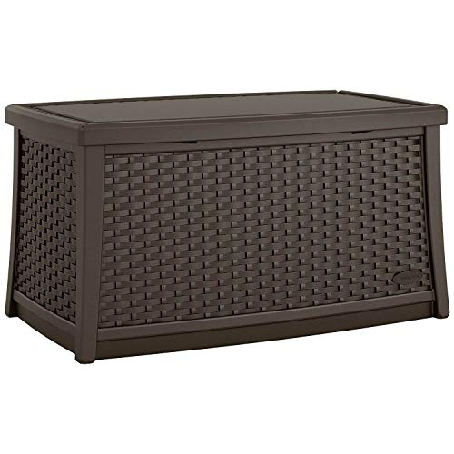 Suncast Elements 30-Gallon End Table with Storage - Lightweight Resin Outdoor Storage Patio and Coffee Table for Cushions, Gardening Tools and Toys - Store Items on Patio - Java