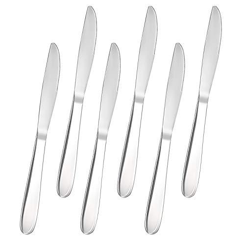 FOXAS 6 Stück Tafelmesser, Menümesser Edelstahl Rostfrei, Besteck Messer 6er Set, Besteckmesser Serie Bon Appétit