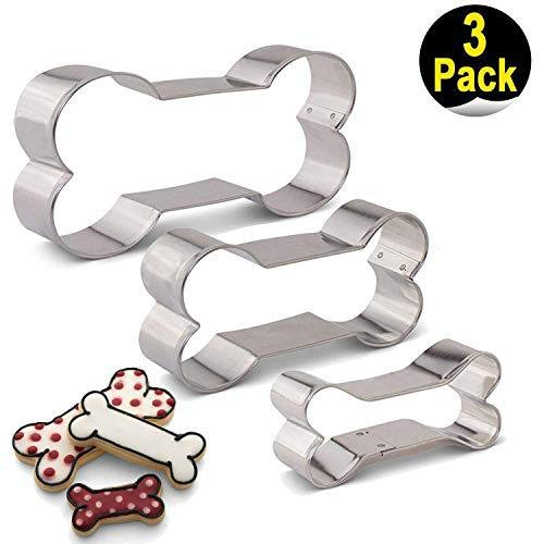 VOYAGO Hundeknochen Ausstecher Set-3 Stück Edelstahl Hundekuchen Formen Fondant Kuchen Ausstechform Set Gebäck Form