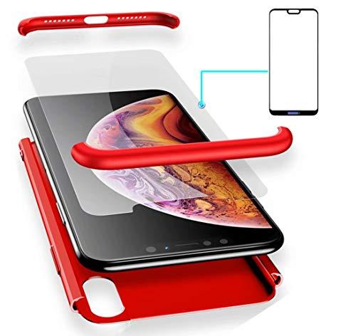 AILZH Funda Huawei P20 Pro 360°Caja Caso+Vidrio Templado(Rojo)