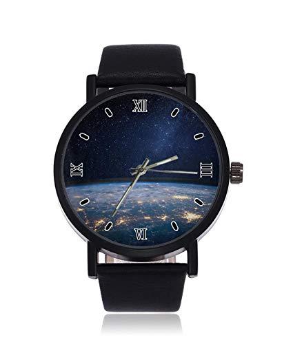 Earth and Galaxy, orologio da polso da uomo, al quarzo, in acciaio inox, cinturino in pelle, stile casual