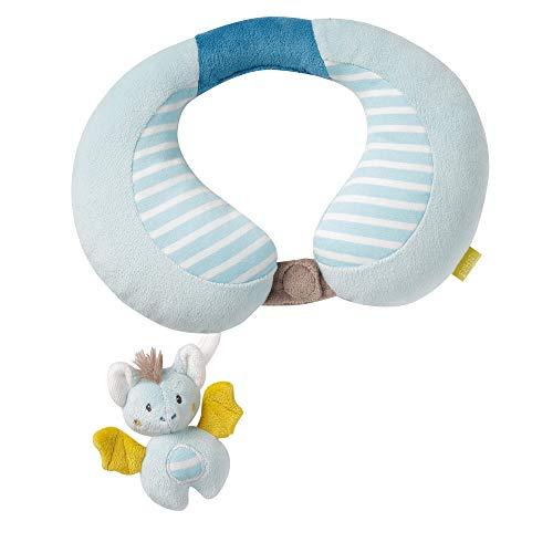 Fehn 065282 Nackenstütze Fledermaus – Nackenkissen mit kleinem Rasseltier für Babys und Kleinkinder ab 6+ Monaten – Maße: 24 x 20 cm