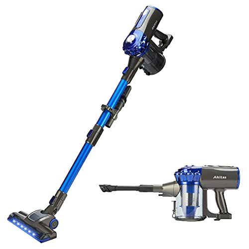 Akitas V8 22.2v 150w 3-in-1 Cordless Upright Handheld Stick Vacuum Cleaner Lightweight Compact Rechargeable Lithium Battery for Hard Floor, Carpet, Pet Hair, Car, Home