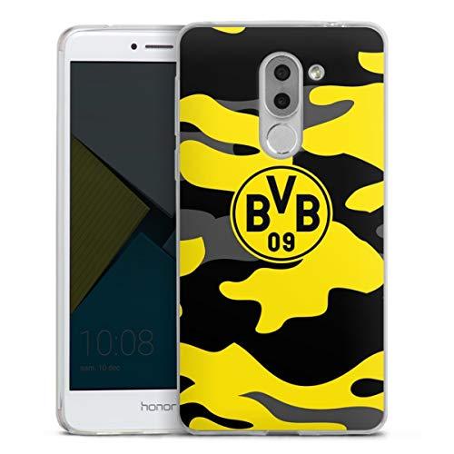 DeinDesign Slim Case extra dünn kompatibel mit Huawei Honor 6X Silikon Handyhülle transparent Hülle BVB Borussia Dortmund Fanartikel