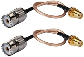 CCYO Pack of 2 Handheld Antenna Cable SMA Female to UHF SO-239 Female Connectors 6''for baofeng Antenna Adapter for UHF Base and Mobile Antennas