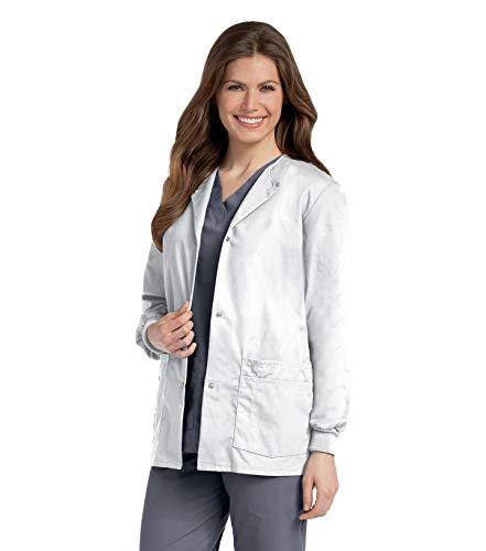 Landau Women's Premium Snap-Front 4-Pocket Crew Neck Warm-Up Scrub Jacket, White, X-Large