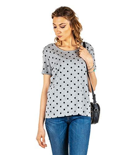 DES PETITS HAUTS - Camiseta para mujer, diseño de lunares, color gris
