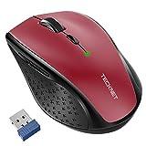 TECKNET Ratón Inalámbrico Classic 2.4G, Ratón Óptico Wireless Mouse 4800 dpi 6 Niveles Ajustables con Nano Receptor, 30 Meses duración de la batería, 6 Botones para Windows, Mac, Macbook Linux, Rojo