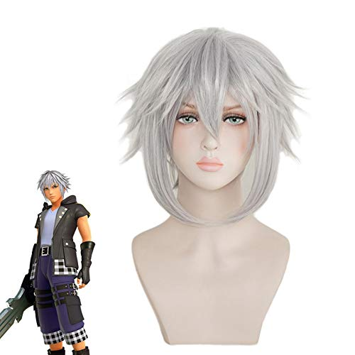 Juego Kingdom Hearts Iii Riku peluca Cosplay gris pelo corto resistente al calor pelo sinttico fiesta Cosplay disfraz pelucas + gorro de peluca gratis Mz-1315
