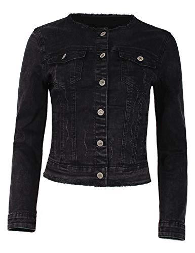 Fraternel Damen Jeansjacke ausgefranst Vintage Stretch Schwarz XL / 42
