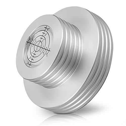 kwmobile Plattenspieler Stabilisator mit Wasserwaage - für Spindeldurchmesser bis zu 7mm - Metall Plattengewicht für Vinyl Platten in Silber