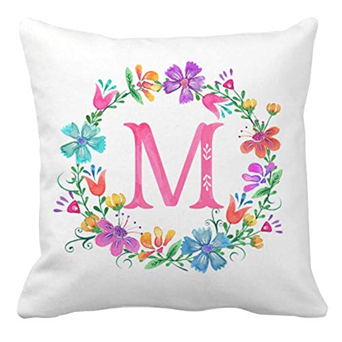 Suloill Square Throw Pillow Cover Rose Gold Letter Letter Wreath Feather Printing Cushion Cover Peach Skin Children's Bedroom Decoration 45x45cm M
