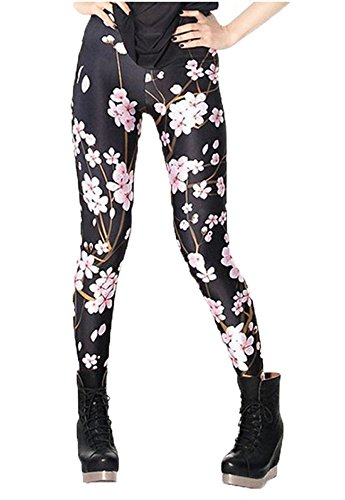 DODOING Blumen Muster Leggings Damen Lang Hose Gym Workout Leggins Legins Ladies Stretch Yoga Pants