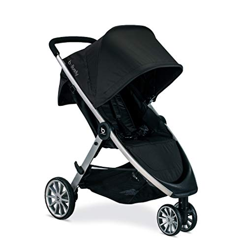 Britax B-Lively Lightweight Stroller, Raven One Hand, Easy Fold + Infinite Recline + Front Access Storage + Peekaboo Window