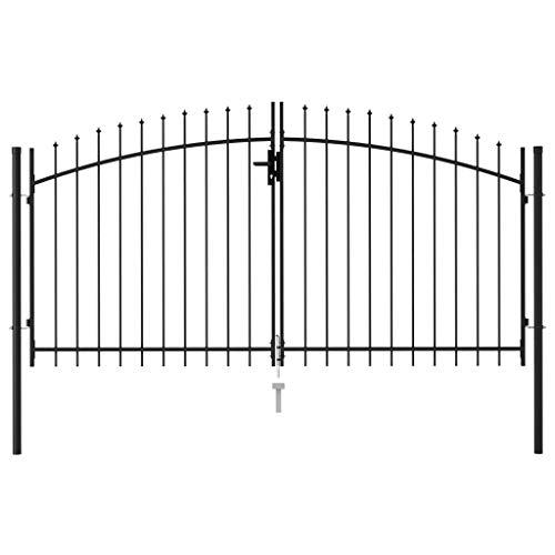 Festnight Cancela de Valla Doble Puerta con Puntas Acero Puerta Jardin Metalica Vallas para Jardin Negro 3x1,5 m