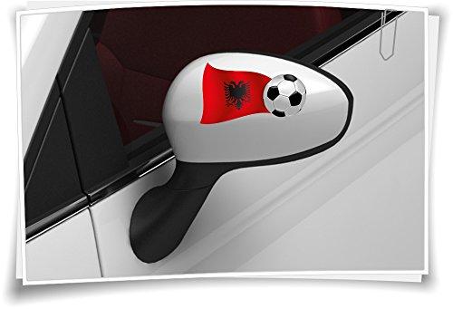 2x Albanese vlag autosticker voetbal sticker sport EM WM spiegelkappen auto spiegel auto