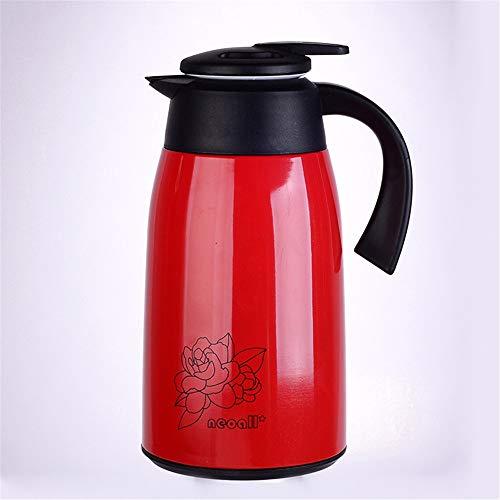 Jarra de vacío aislada Copa de vacío con Aislamiento de Gran Capacidad de la Caldera Caliente y frío Durante 12 Horas Adecuado for el café y té (Color : Red, Size : 1.3l)