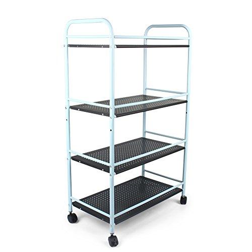 Carrito de 3 o 4 pisos para salón de belleza, baño o cocina. Carrito de almacenamiento de acero con ruedas, metal, negro, 60cm(L) x 32cm(W) x 100cm(H)