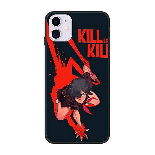LUOKAOO Ultra Thin Soft Silicone Anti-Scratch Black Phone Cover Case for Apple iPhone 12/12 Pro-La Kill-Dressed Ryuuko Red 3