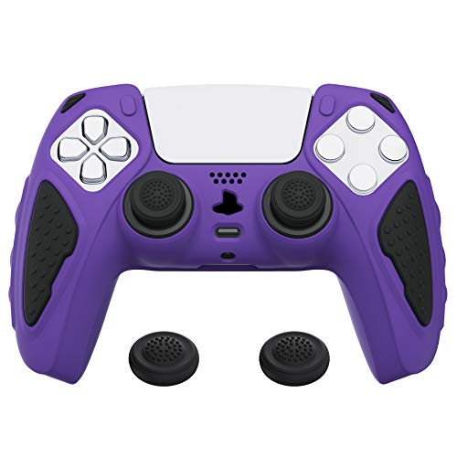 PlayVital Funda de Silicona para PS5 Carcasa de Goma Antideslizante para Playstation 5 Control Protector Tacto Suave con Tapas para Joysticks para PS5 Mando-Edición Knight(Violeta+Negro)